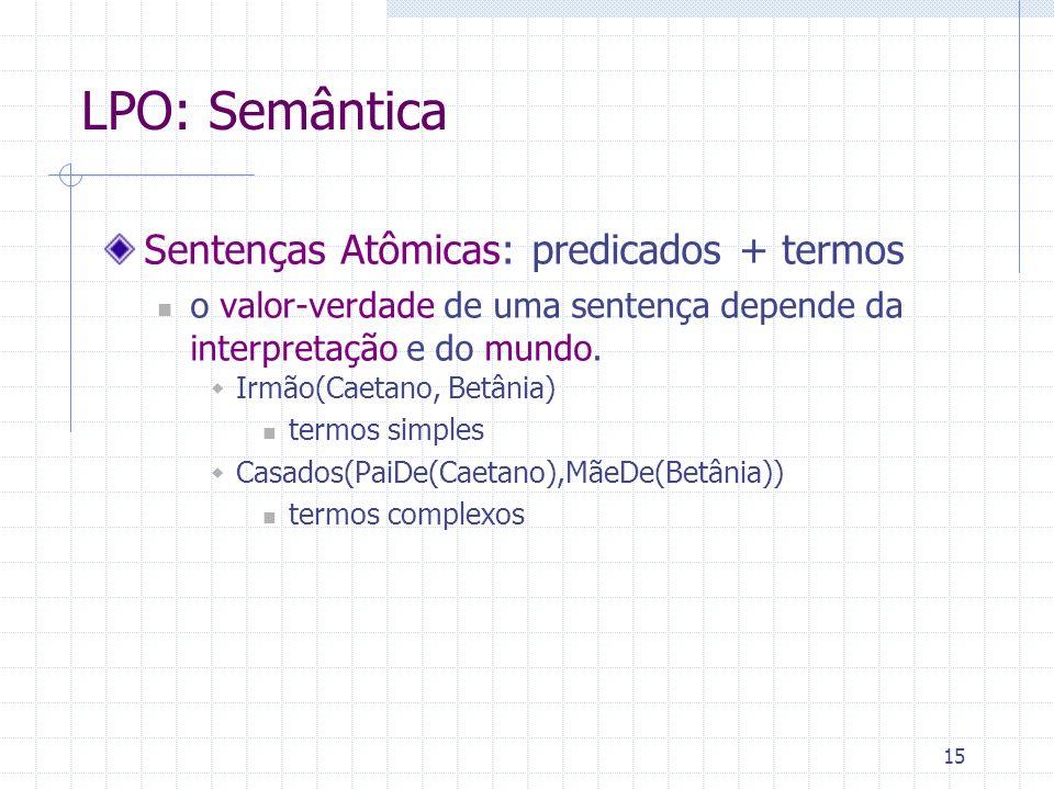 16 LPO: Semântica Sentenças Complexas: usam conectivos e quantificadores a semântica dessas sentenças é atribuída da mesma maneira que na lógica proposicional: semântica dos conectivos + valor-verdade das sentenças individuais.