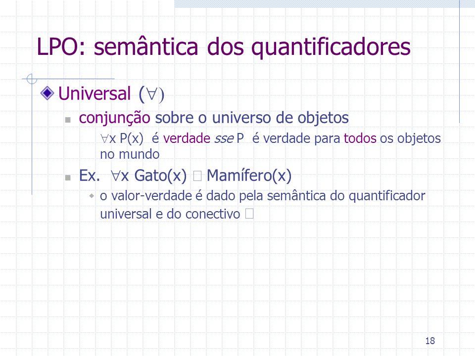 18 LPO: semântica dos quantificadores Universal ( conjunção sobre o universo de objetos x P(x) é verdade sse P é verdade para todos os objetos no mund