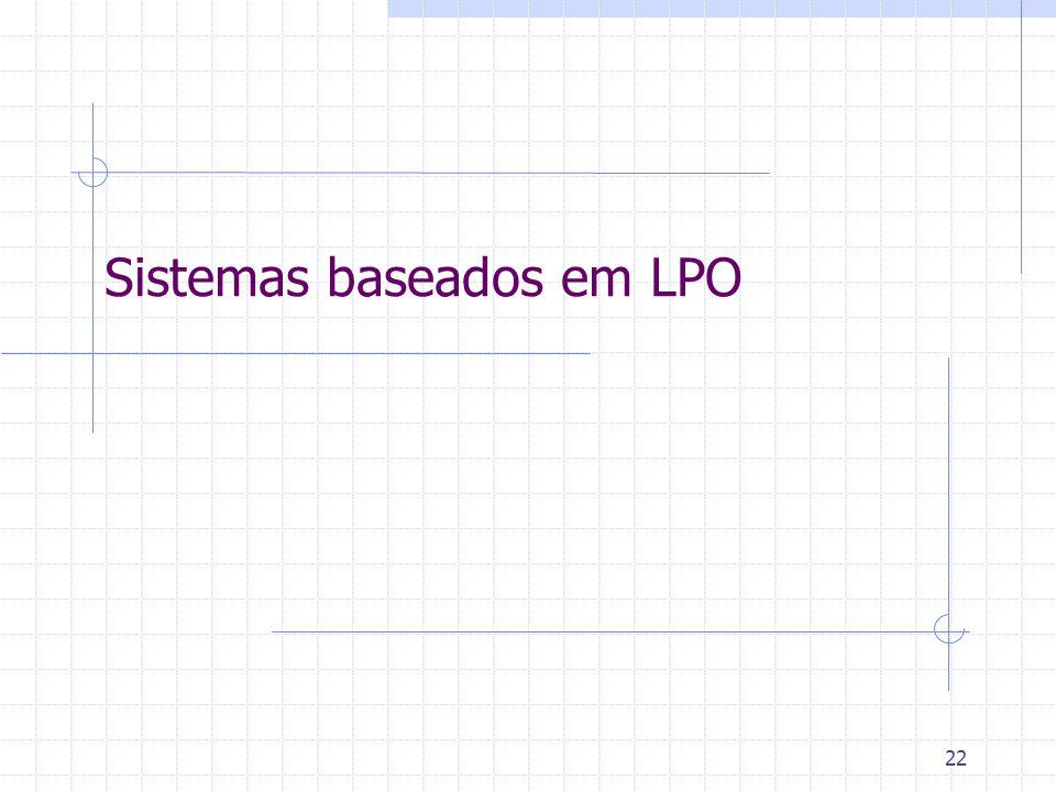 23 Sistemas baseados em LPO Representando sentenças no mundo: Pedro possui um cachorro.