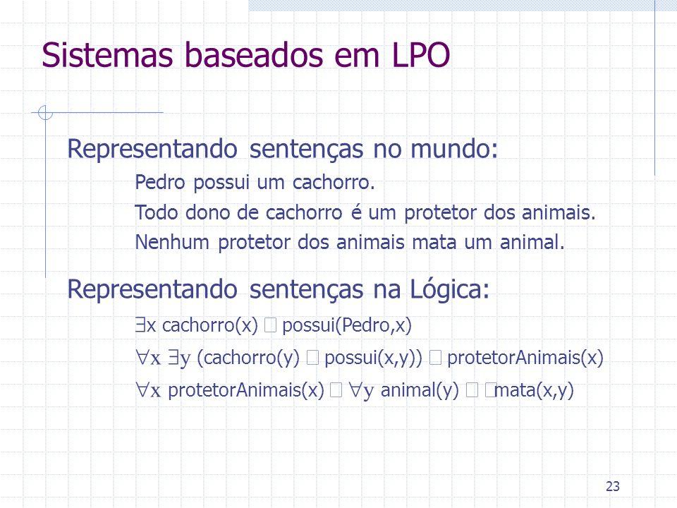24 Sistemas baseados em LPO Base de Conhecimento fatos e regras básicos, gerais, permanentes (só axiomas!) (x,z) Avó(x,z) (y) Mãe(x,y) (Mãe(y,z) Pai(y,z)) Memória de Trabalho fatos particulares à instância do problema (axiomas) Pai(Caetano,Zeca), Mãe(Canô, Caetano) e fatos derivados (teoremas) Avó(Canô, Zeca) Máquina de Inferência regras de inferência