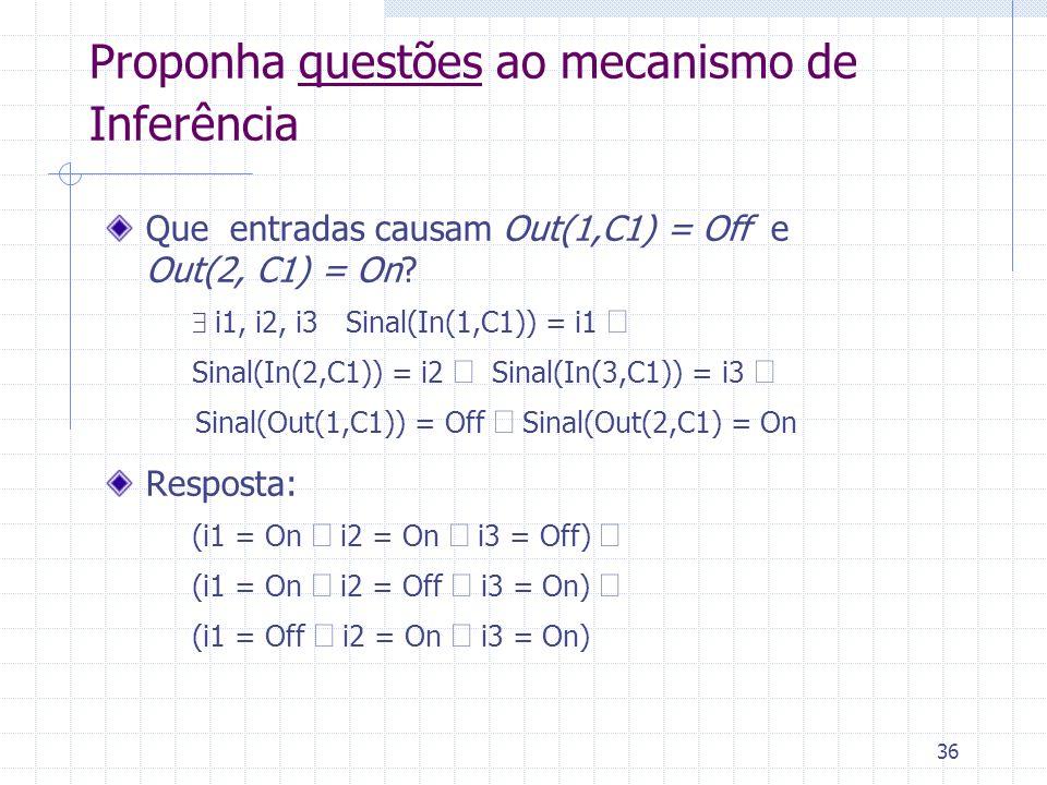 36 Proponha questões ao mecanismo de Inferência Que entradas causam Out(1,C1) = Off e Out(2, C1) = On? i1, i2, i3 Sinal(In(1,C1)) = i1 Sinal(In(2,C1))