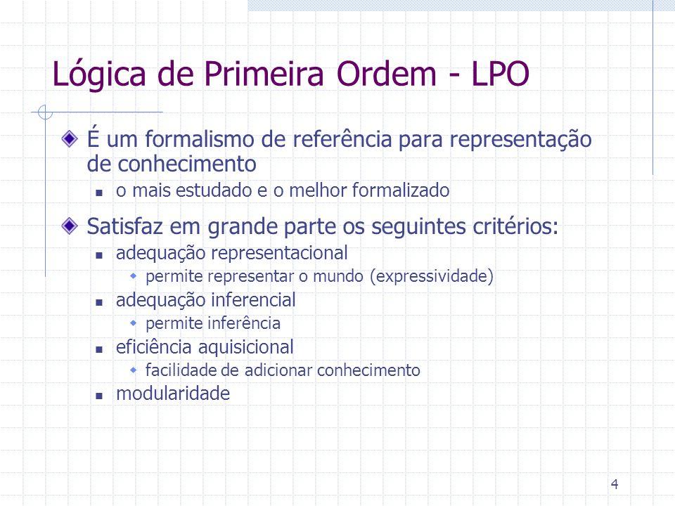 4 Lógica de Primeira Ordem - LPO É um formalismo de referência para representação de conhecimento o mais estudado e o melhor formalizado Satisfaz em g