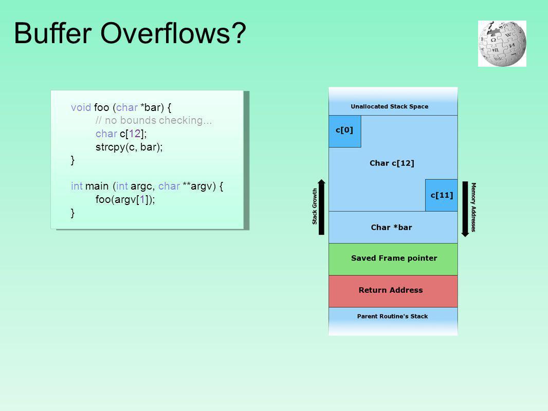 Buffer Overflows? void foo (char *bar) { // no bounds checking... char c[12]; strcpy(c, bar); } int main (int argc, char **argv) { foo(argv[1]); }