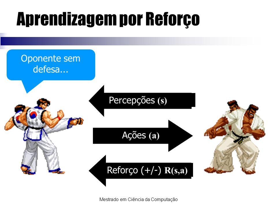 Mestrado em Ciência da Computação Aprendizagem por Reforço Percepções (s) Ações (a) Reforço (+/-) R(s,a) AgenteAmbiente Oponente sem defesa...