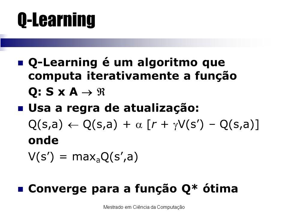 Mestrado em Ciência da Computação Q-Learning Q-Learning é um algoritmo que computa iterativamente a função Q: S x A Usa a regra de atualização: Q(s,a)