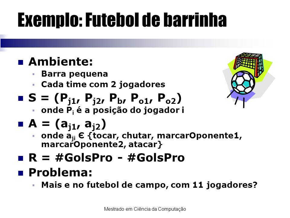 Mestrado em Ciência da Computação Exemplo: Futebol de barrinha Ambiente: Barra pequena Cada time com 2 jogadores S = (P j1, P j2, P b, P o1, P o2 ) on