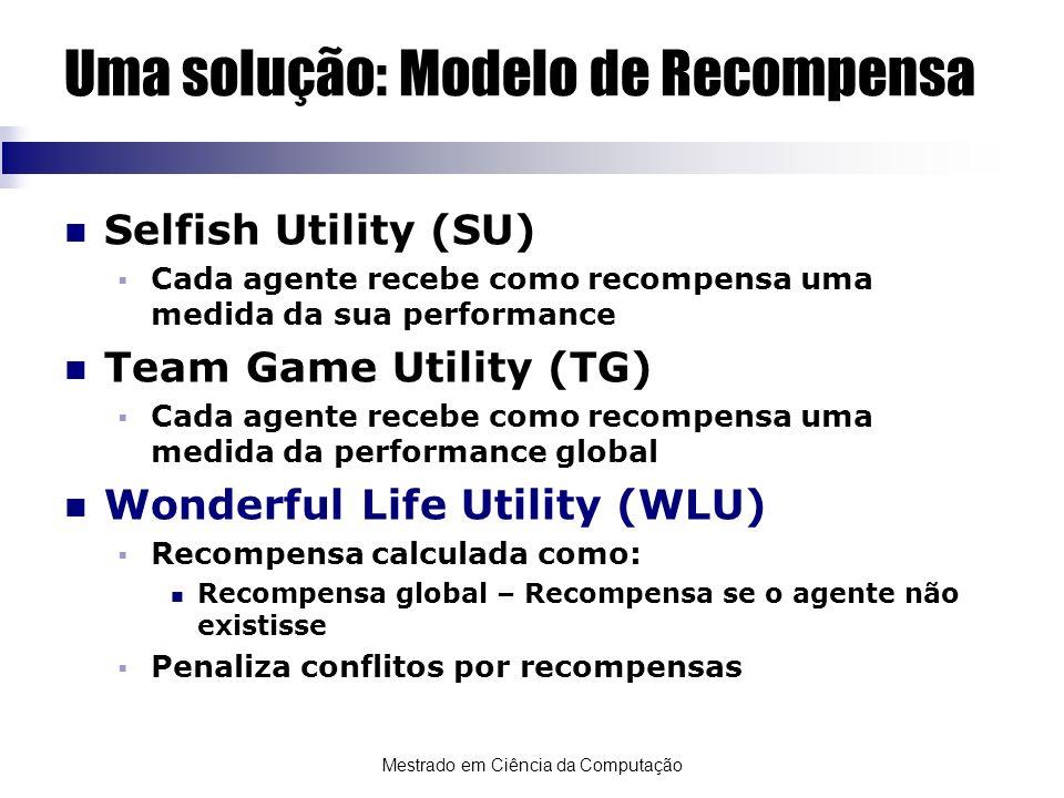 Mestrado em Ciência da Computação Uma solução: Modelo de Recompensa Selfish Utility (SU) Cada agente recebe como recompensa uma medida da sua performa