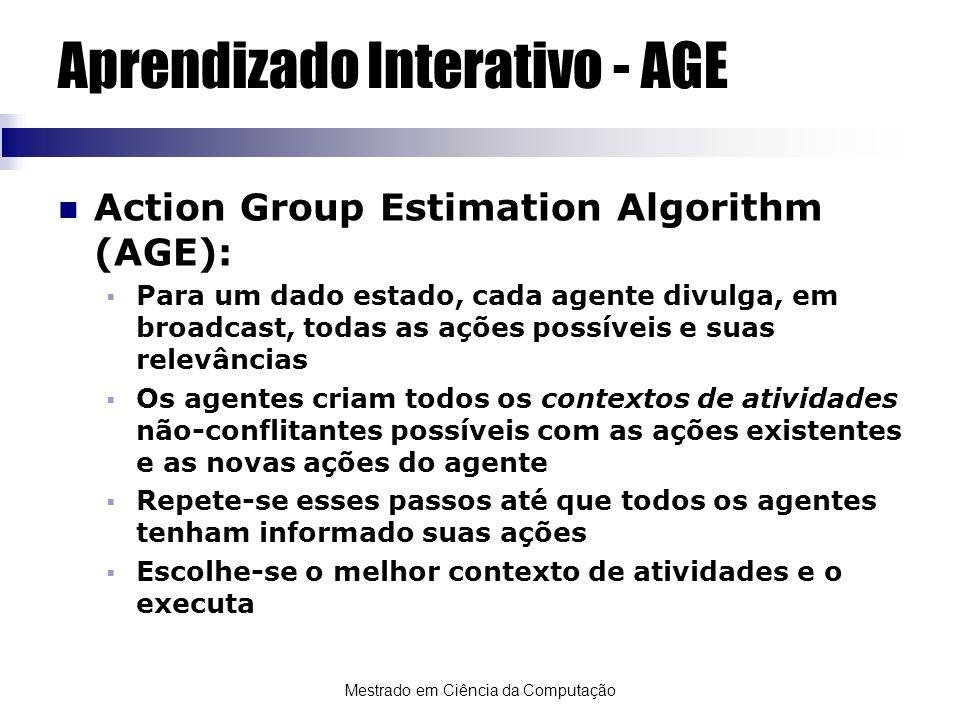 Mestrado em Ciência da Computação Aprendizado Interativo - AGE Action Group Estimation Algorithm (AGE): Para um dado estado, cada agente divulga, em b