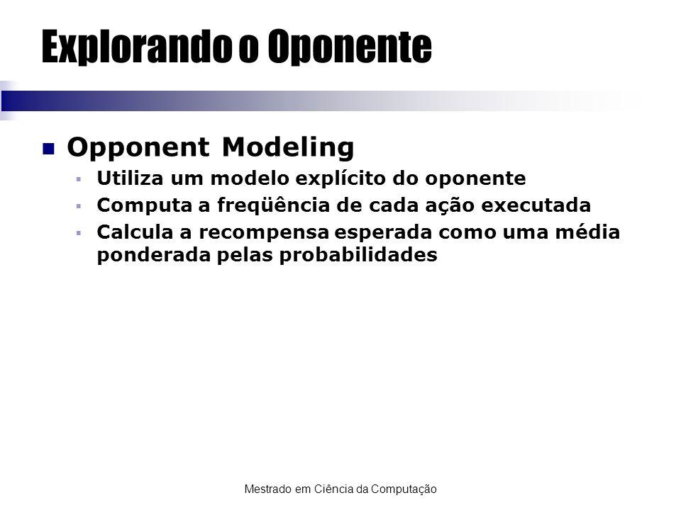 Mestrado em Ciência da Computação Explorando o Oponente Opponent Modeling Utiliza um modelo explícito do oponente Computa a freqüência de cada ação ex