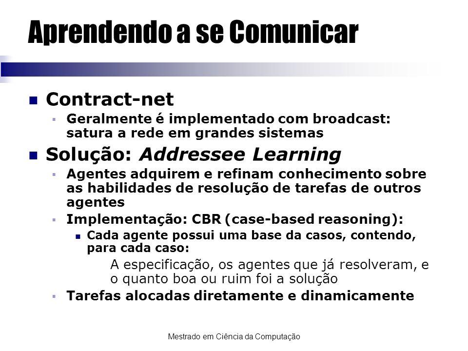 Mestrado em Ciência da Computação Aprendendo a se Comunicar Contract-net Geralmente é implementado com broadcast: satura a rede em grandes sistemas So
