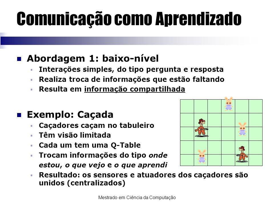 Mestrado em Ciência da Computação Comunicação como Aprendizado Abordagem 1: baixo-nível Interações simples, do tipo pergunta e resposta Realiza troca