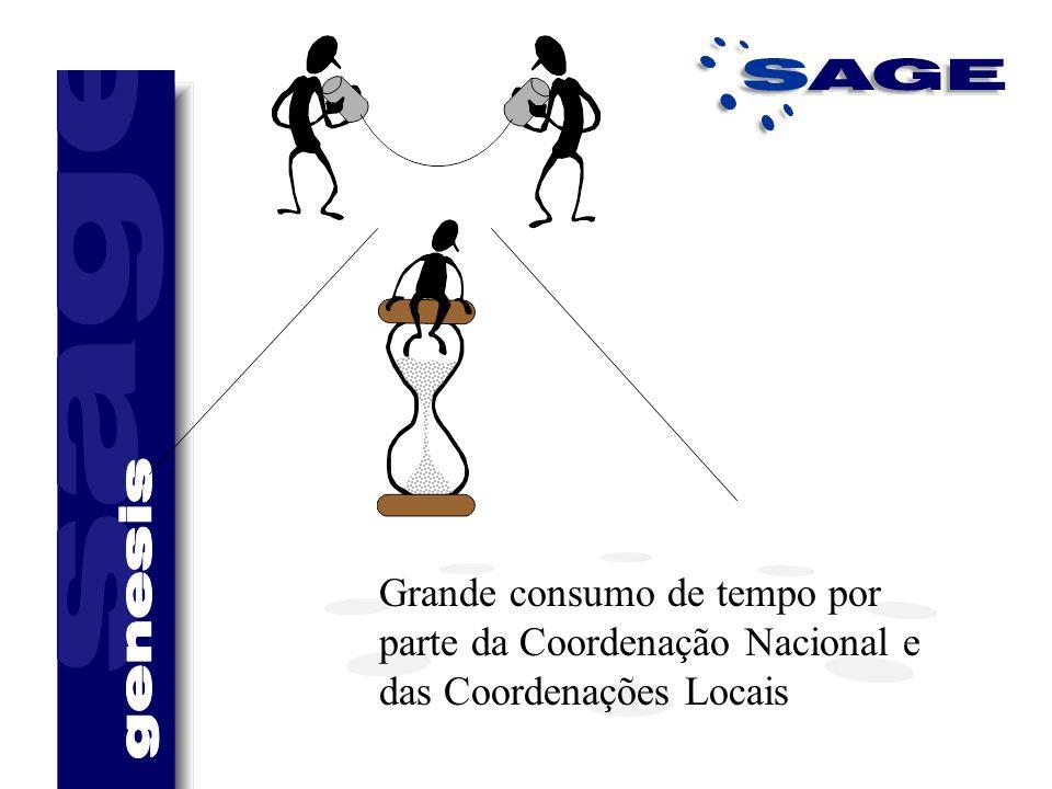 Grande consumo de tempo por parte da Coordenação Nacional e das Coordenações Locais