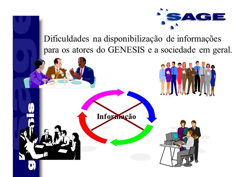 Dificuldades na disponibilização de informações para os atores do GENESIS e a sociedade em geral. Informação