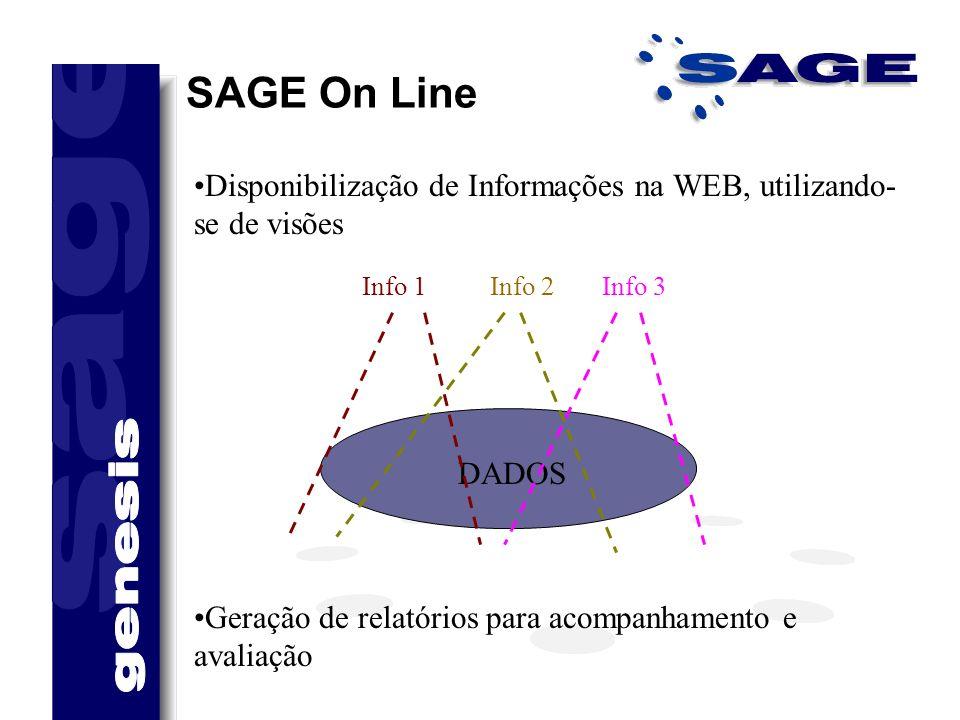 SAGE On Line Disponibilização de Informações na WEB, utilizando- se de visões DADOS Info 1Info 2Info 3 Geração de relatórios para acompanhamento e ava