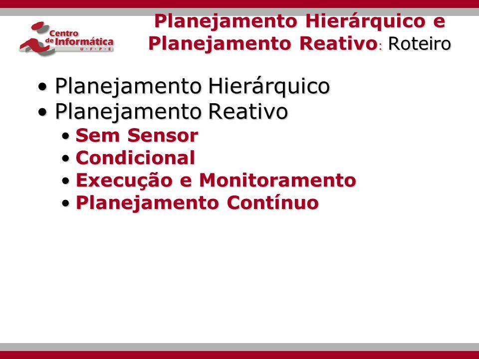Planejamento Hierárquico e Planejamento Reativo Ana Emilia de Melo Queiroz Tópicos Avançados em Inteligência Artificial Simbólica CIn - UFPE