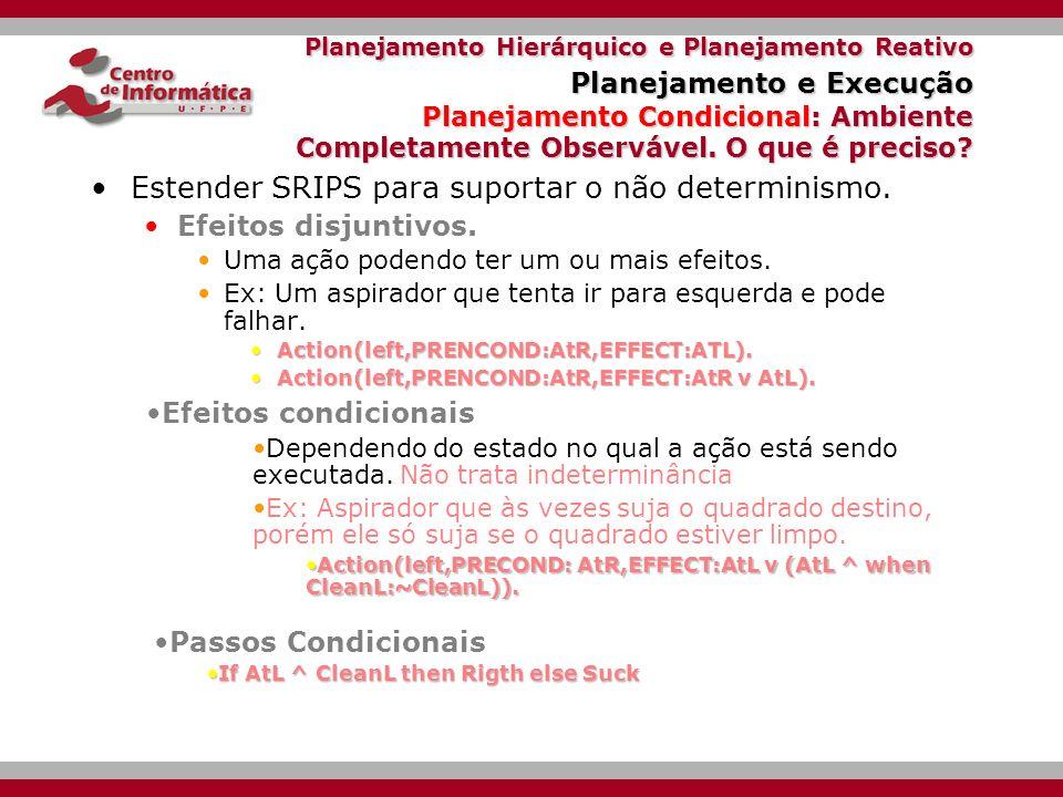 Planejamento Hierárquico e Planejamento Reativo Planejamento e Execução Planejamento Condicional Ambiente Completamente Observável Ele conhece o estado corrente mas não está habilitado a predizer os efeitos de suas ações.
