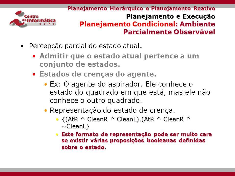Planejamento Hierárquico e Planejamento Reativo Planejamento e Execução Planejamento Condicional: Ambiente Completamente Observável.