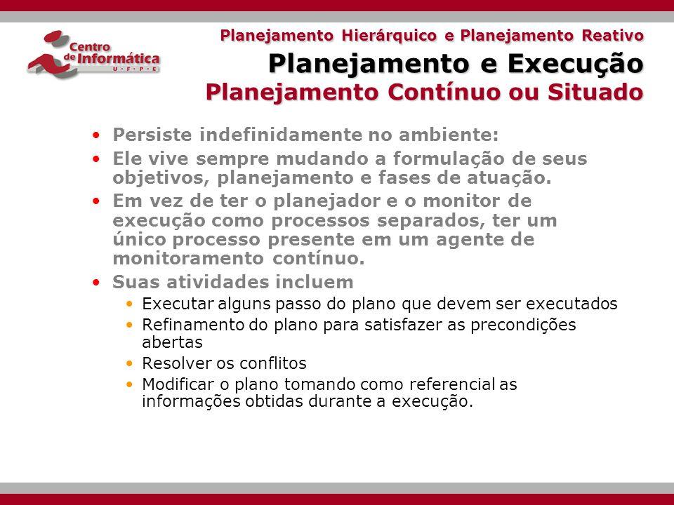 Planejamento Hierárquico e Planejamento Reativo Planejamento e Execução Monitoramento da Execução Plano completo inicial: whole_plan que começa em S e vai até G.