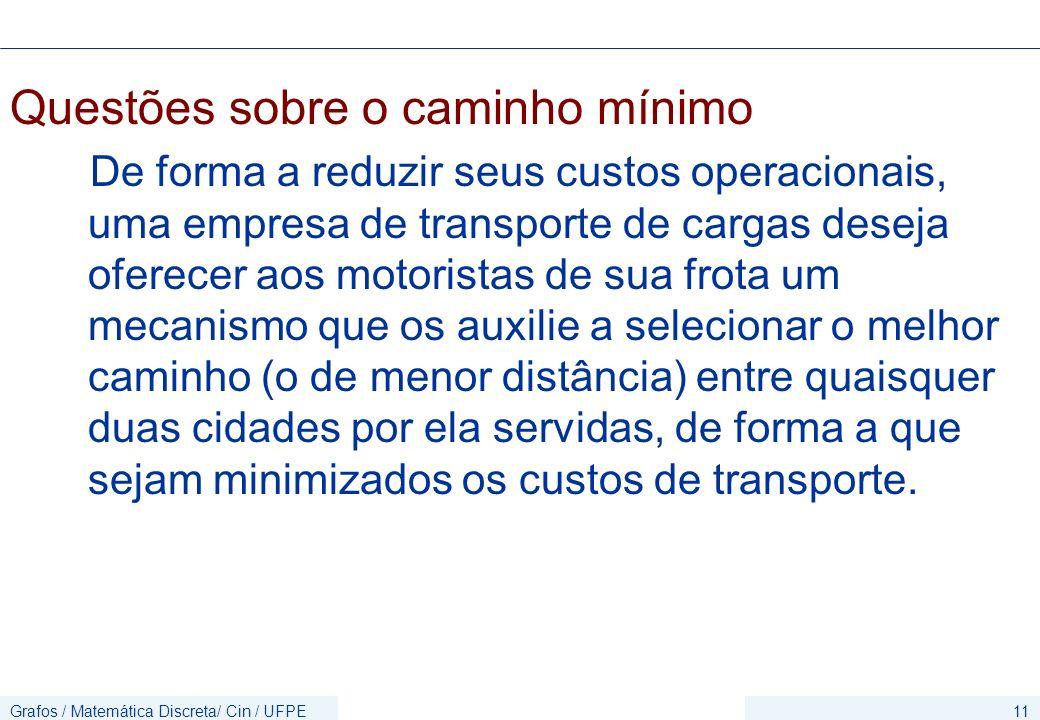 Grafos / Matemática Discreta/ Cin / UFPE11 Questões sobre o caminho mínimo De forma a reduzir seus custos operacionais, uma empresa de transporte de c