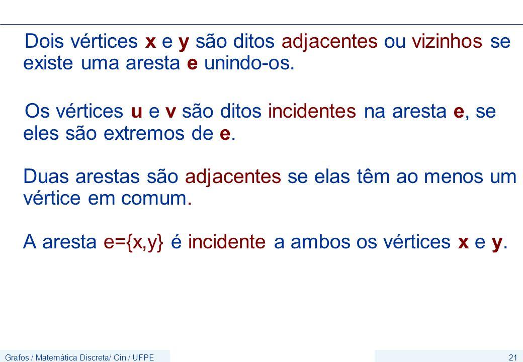 Grafos / Matemática Discreta/ Cin / UFPE21 Dois vértices x e y são ditos adjacentes ou vizinhos se existe uma aresta e unindo-os. Os vértices u e v sã