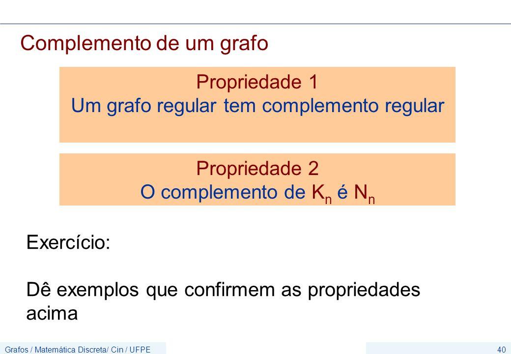 Grafos / Matemática Discreta/ Cin / UFPE40 Complemento de um grafo Exercício: Dê exemplos que confirmem as propriedades acima Propriedade 1 Um grafo r