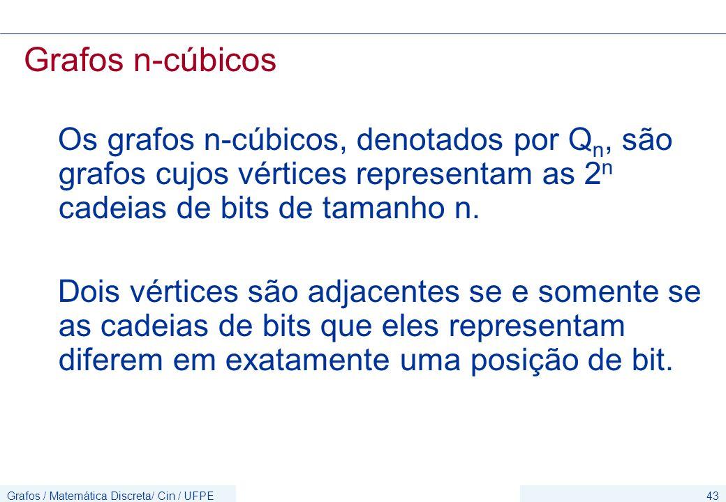 Grafos / Matemática Discreta/ Cin / UFPE43 Grafos n-cúbicos Os grafos n-cúbicos, denotados por Q n, são grafos cujos vértices representam as 2 n cadei