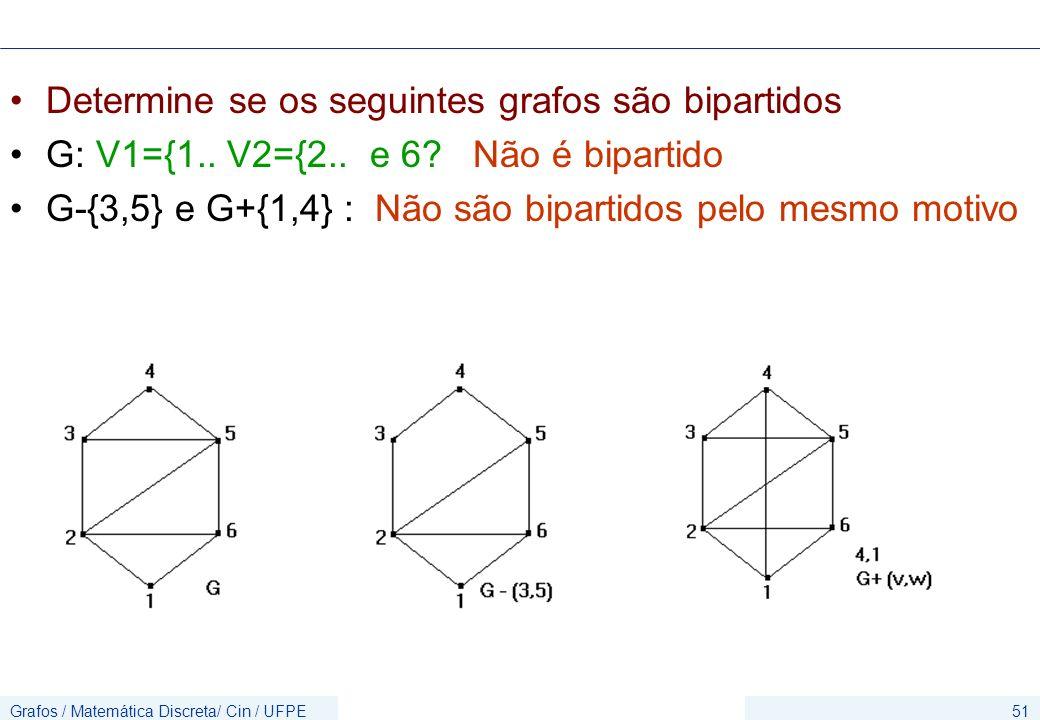 Grafos / Matemática Discreta/ Cin / UFPE51 Determine se os seguintes grafos são bipartidos G: V1={1.. V2={2.. e 6? Não é bipartido G-{3,5} e G+{1,4} :