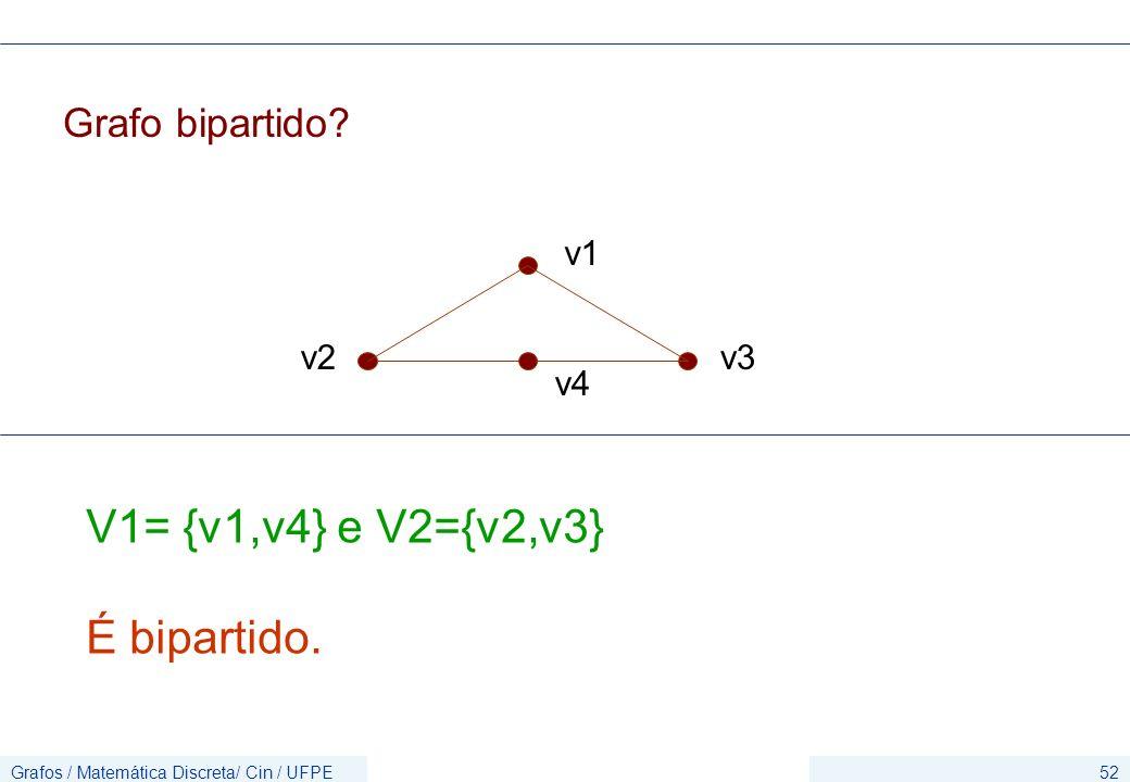 Grafos / Matemática Discreta/ Cin / UFPE52 Grafo bipartido? v1 v2 v4 v3 V1= {v1,v4} e V2={v2,v3} É bipartido.