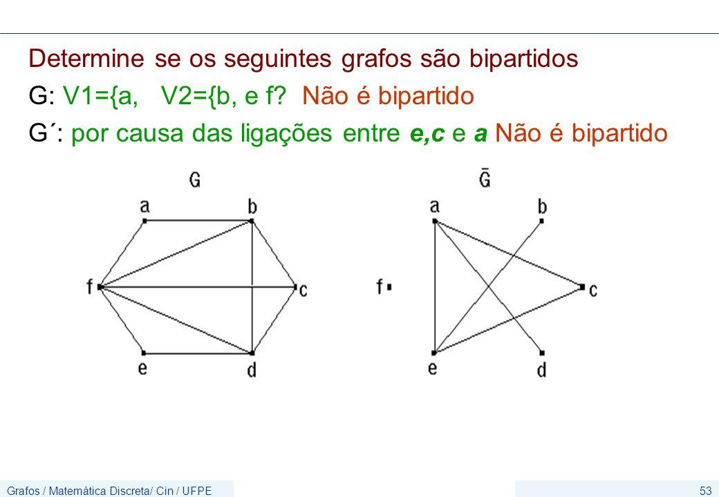 Grafos / Matemática Discreta/ Cin / UFPE53 Determine se os seguintes grafos são bipartidos G: V1={a, V2={b, e f? Não é bipartido G´: por causa das lig