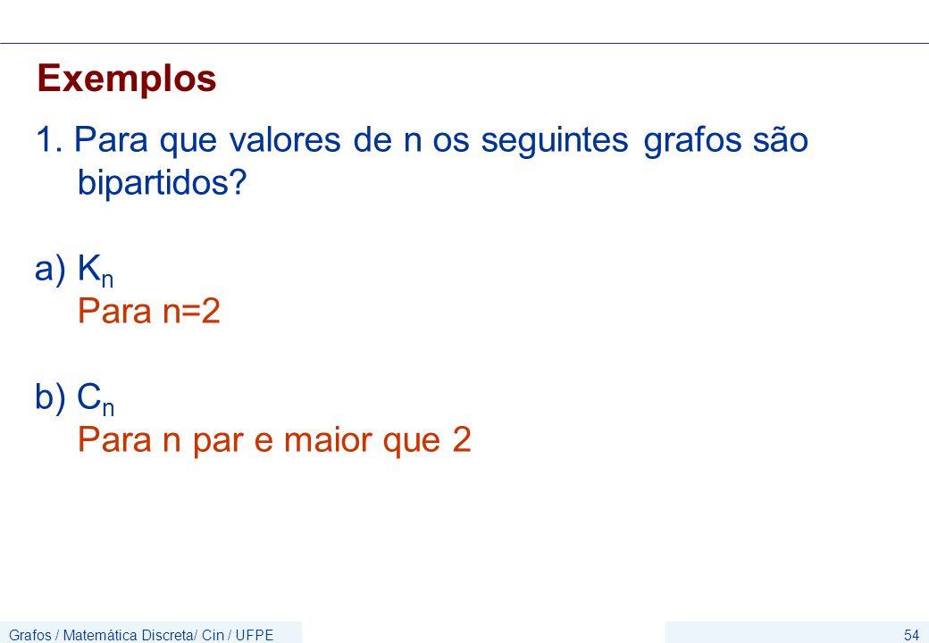 Grafos / Matemática Discreta/ Cin / UFPE54 Exemplos 1. Para que valores de n os seguintes grafos são bipartidos? a)K n Para n=2 b) C n Para n par e ma