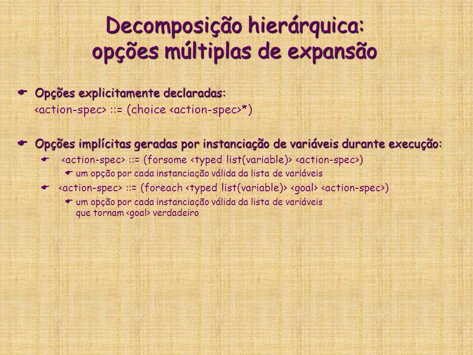 Decomposição hierárquica: opções múltiplas de expansão Opções explicitamente declaradas: Opções explicitamente declaradas: ::= (choice *) Opções implí