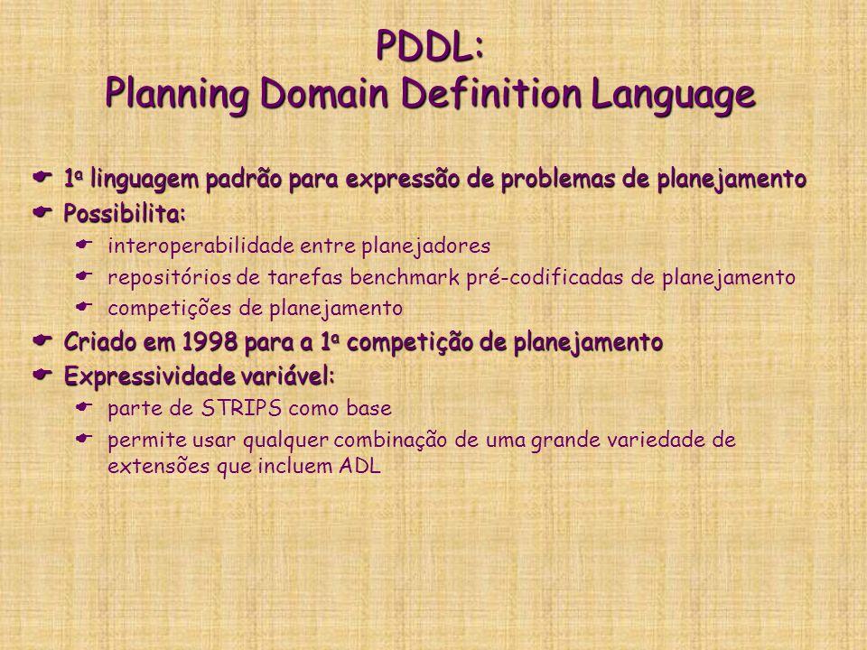 PDDL: Planning Domain Definition Language 1 a linguagem padrão para expressão de problemas de planejamento 1 a linguagem padrão para expressão de prob