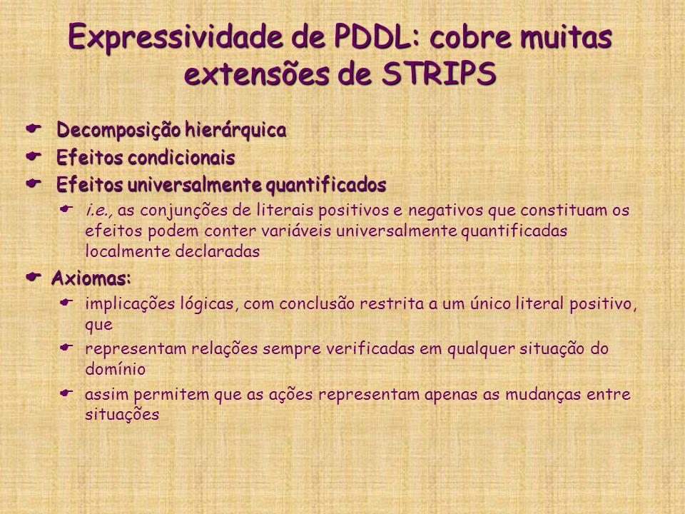 Expressividade de PDDL: cobre muitas extensões de STRIPS Decomposição hierárquica Decomposição hierárquica Efeitos condicionais Efeitos condicionais E