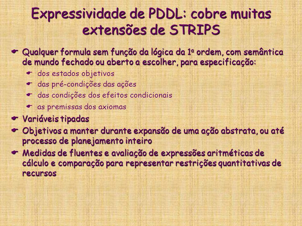 Expressividade de PDDL: cobre muitas extensões de STRIPS Qualquer formula sem função da lógica da 1 a ordem, com semântica de mundo fechado ou aberto