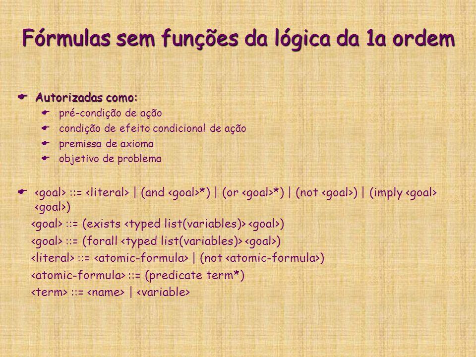 Fórmulas sem funções da lógica da 1a ordem: exemplo de uso :precondition (and (lift-at ?f) (imply (exists (?p - conflict_A) (or (and (not (served ?p)) (origin ?p ?f)) (and (boarded ?p) (not (destin ?p ?f))))) (forall (?q - conflict_B) (and (or (destin ?q ?f) (not (boarded ?q))) (or (served ?q)))))) (not (origin ?q ?f)))))))
