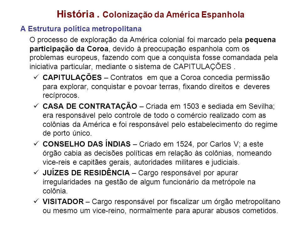 História. Colonização da América Espanhola A Estrutura política metropolitana O processo de exploração da América colonial foi marcado pela pequena pa