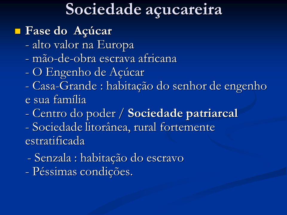 Sociedade açucareira Fase do Açúcar - alto valor na Europa - mão-de-obra escrava africana - O Engenho de Açúcar - Casa-Grande : habitação do senhor de