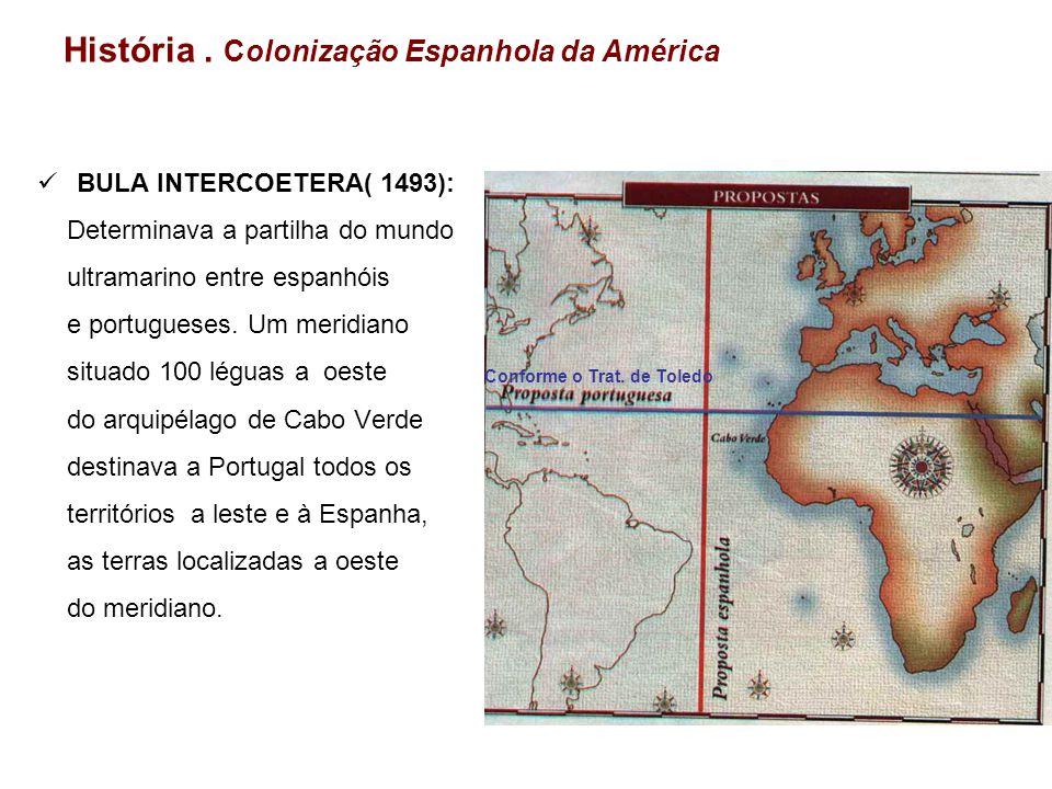 História. Colonização Espanhola da América BULA INTERCOETERA( 1493): Determinava a partilha do mundo ultramarino entre espanhóis e portugueses. Um mer