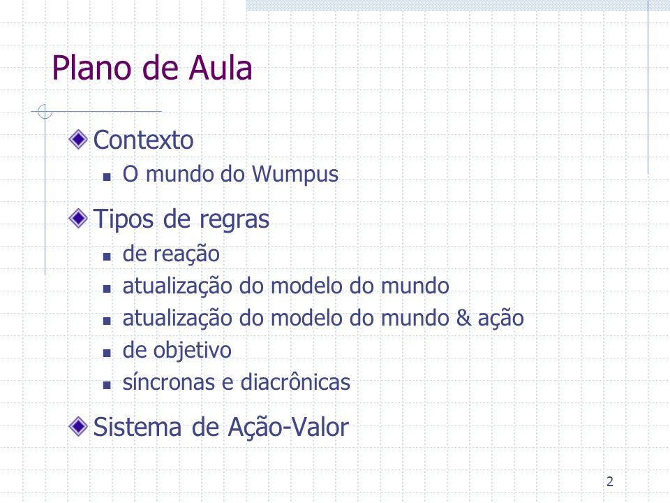 13 Mundo de Wumpus Arquiteturas do agente Agente puramente reativo Agente reativo com estado interno (autômato) Agente cognitivo (baseado em objetivos) Agente otimizador Agente adaptativo
