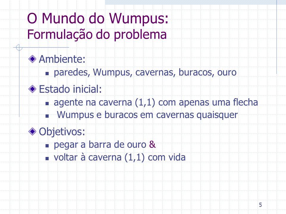 6 O Mundo do Wumpus: Formulação do problema Percepções: fedor ao redor do Wumpus vento ao redor dos buracos brilho do ouro - apenas na caverna onde ele está choque contra a parede da caverna grito do Wumpus quando ele morre