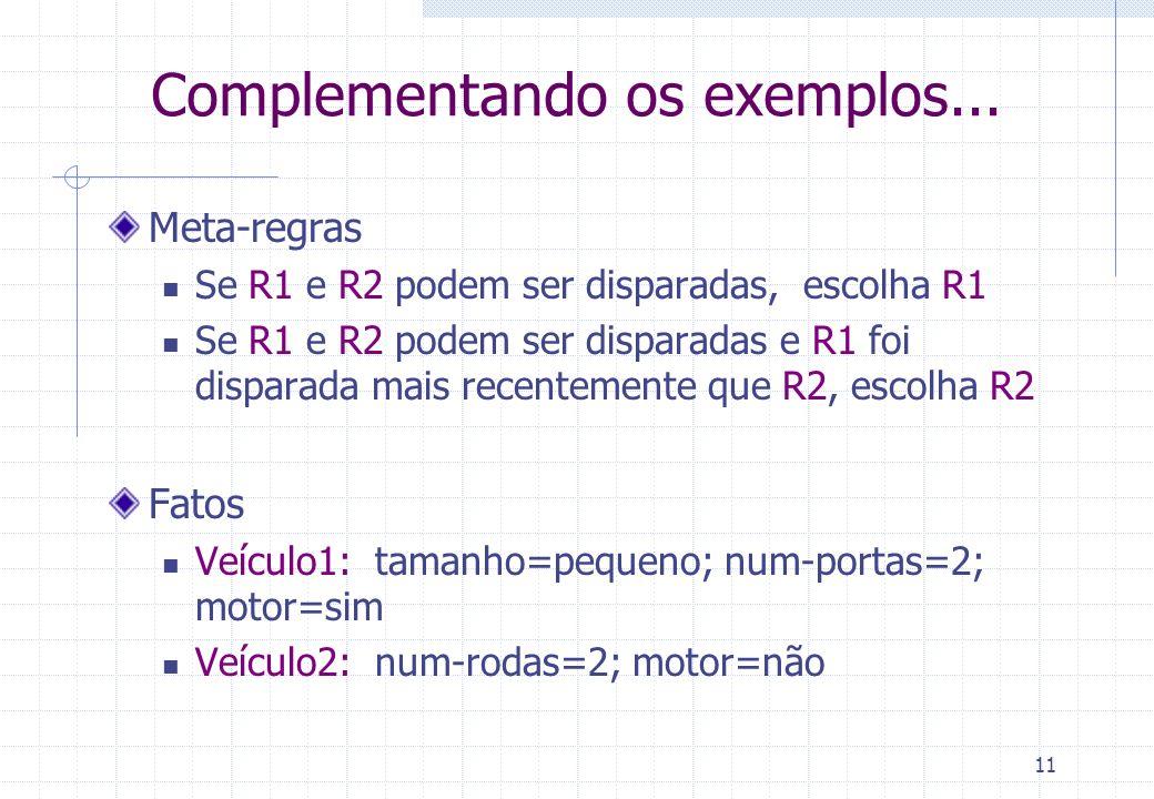 11 Complementando os exemplos... Meta-regras Se R1 e R2 podem ser disparadas, escolha R1 Se R1 e R2 podem ser disparadas e R1 foi disparada mais recen
