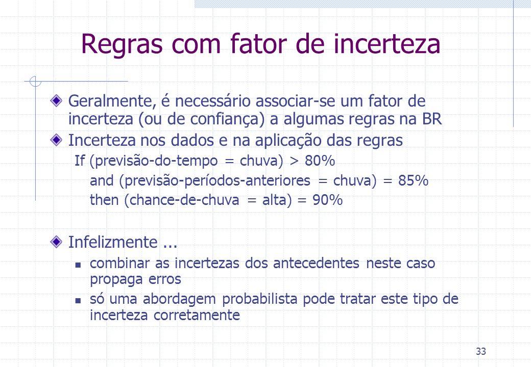 33 Regras com fator de incerteza Geralmente, é necessário associar-se um fator de incerteza (ou de confiança) a algumas regras na BR Incerteza nos dad
