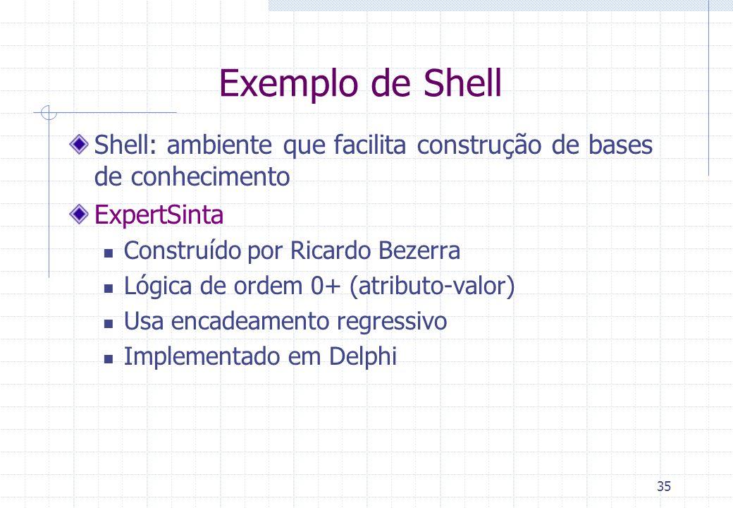 35 Exemplo de Shell Shell: ambiente que facilita construção de bases de conhecimento ExpertSinta Construído por Ricardo Bezerra Lógica de ordem 0+ (at