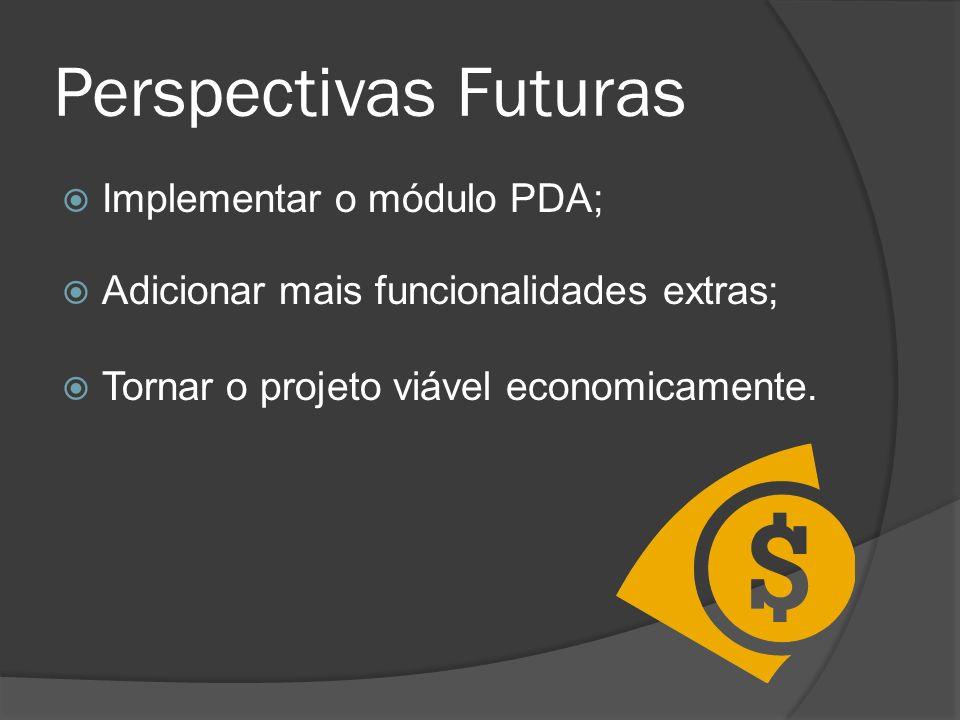 Perspectivas Futuras Implementar o módulo PDA; Adicionar mais funcionalidades extras; Tornar o projeto viável economicamente.