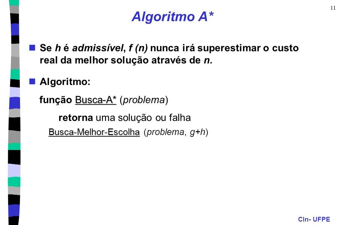 CIn- UFPE 11 Algoritmo A* Se h é admissível, f (n) nunca irá superestimar o custo real da melhor solução através de n. Algoritmo: Busca-A* função Busc