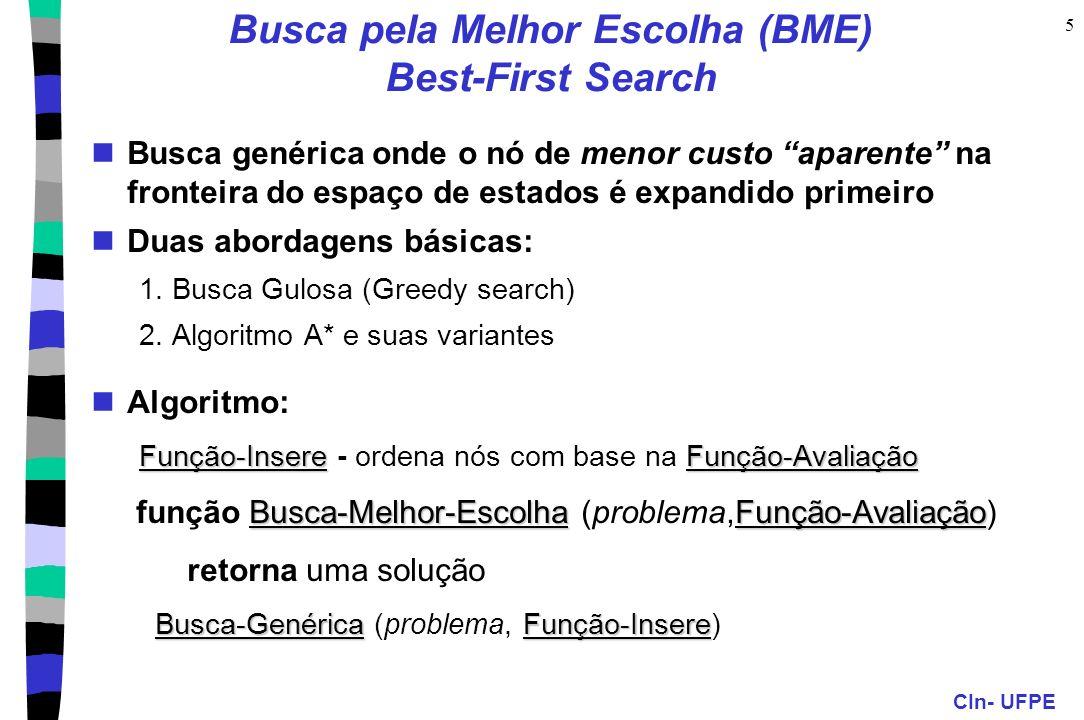 CIn- UFPE 5 Busca pela Melhor Escolha (BME) Best-First Search Busca genérica onde o nó de menor custo aparente na fronteira do espaço de estados é exp