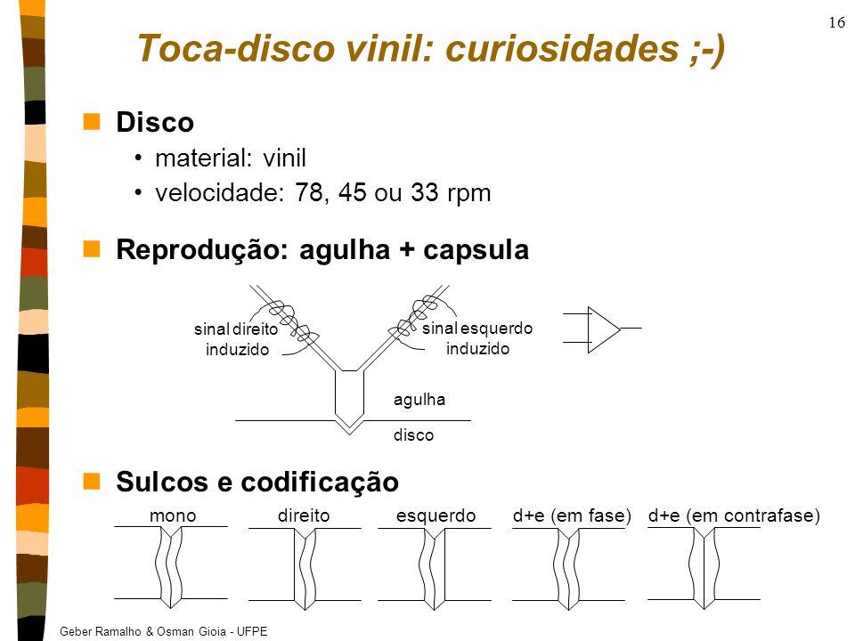 Geber Ramalho & Osman Gioia - UFPE 16 Toca-disco vinil: curiosidades ;-) nDisco material: vinil velocidade: 78, 45 ou 33 rpm nReprodução: agulha + cap