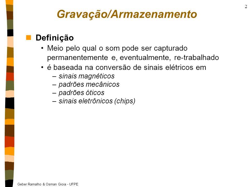 Geber Ramalho & Osman Gioia - UFPE 2 Gravação/Armazenamento nDefinição Meio pelo qual o som pode ser capturado permanentemente e, eventualmente, re-tr