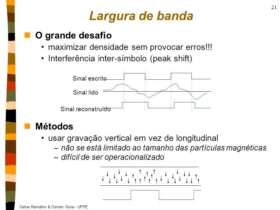 Geber Ramalho & Osman Gioia - UFPE 21 Largura de banda nO grande desafio maximizar densidade sem provocar erros!!! Interferência inter-símbolo (peak s