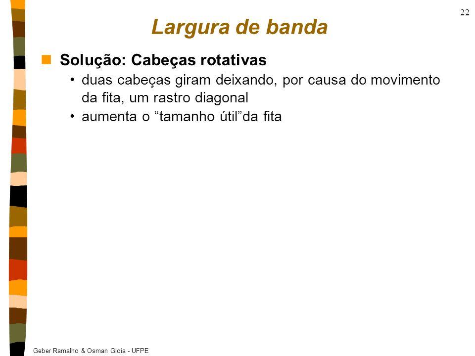 Geber Ramalho & Osman Gioia - UFPE 22 Largura de banda nSolução: Cabeças rotativas duas cabeças giram deixando, por causa do movimento da fita, um ras